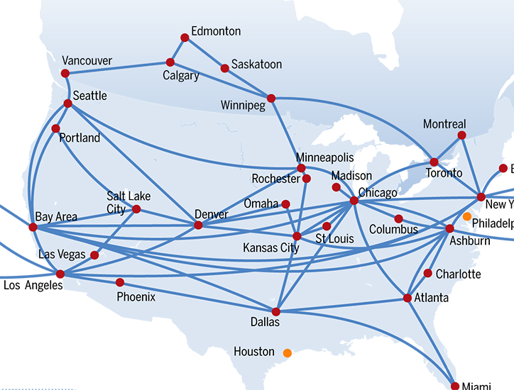 Figure 3. The gigabit backbone network of Hurricane Electric, one of the largest Tier-1 internet service providers in the United States, is relatively sparse: 22 nodes are connected by 39 links, for an average degree (connectivity) of 3.54 links. The mean degree (average connectivity) of the AS-level Internet is 5.5.
