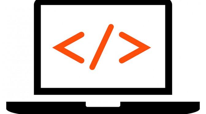 Software developer laptop icon