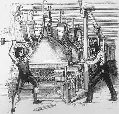Frame-breakers, or Luddites, smashing a loom. Machine-breaking was criminalized by the Parliament of the United Kingdom as early as 1721, the penalty being penal transportation, but as a result of continued opposition to mechanisation the Frame-Breaking Act 1812 made the death penalty available.