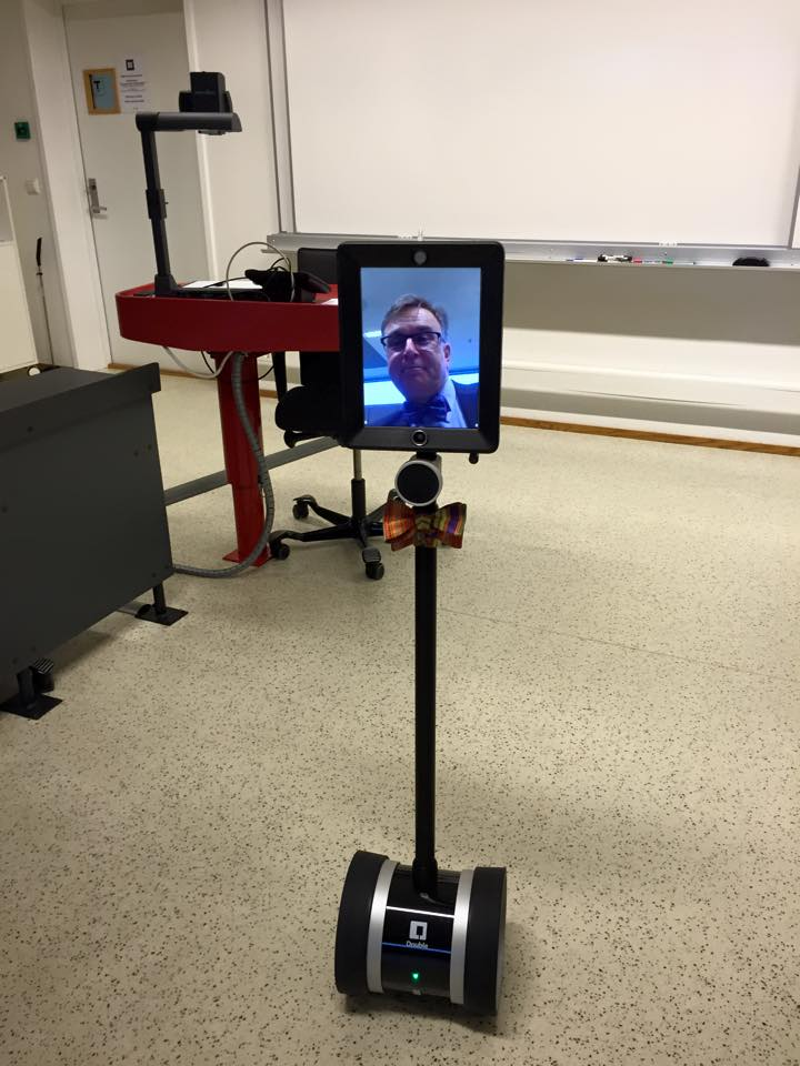 The Double telepresence robot can be used with an  iPad for remote telecommunication.
