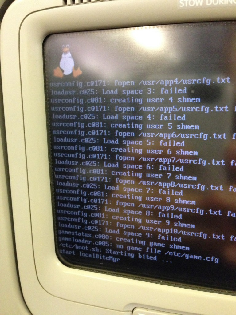 This airplane entertainment system running Linux crashed during my flight. While entertainment is not safety critical, imagine if flight control systems accidentally had a pathway to the entertainment software. Automobiles used to separate entertainment systems from engine control. However, a programmer eventually mixed the two systems unwittingly, enabling hackers to take control of an automobile by infecting the entertainment system.
