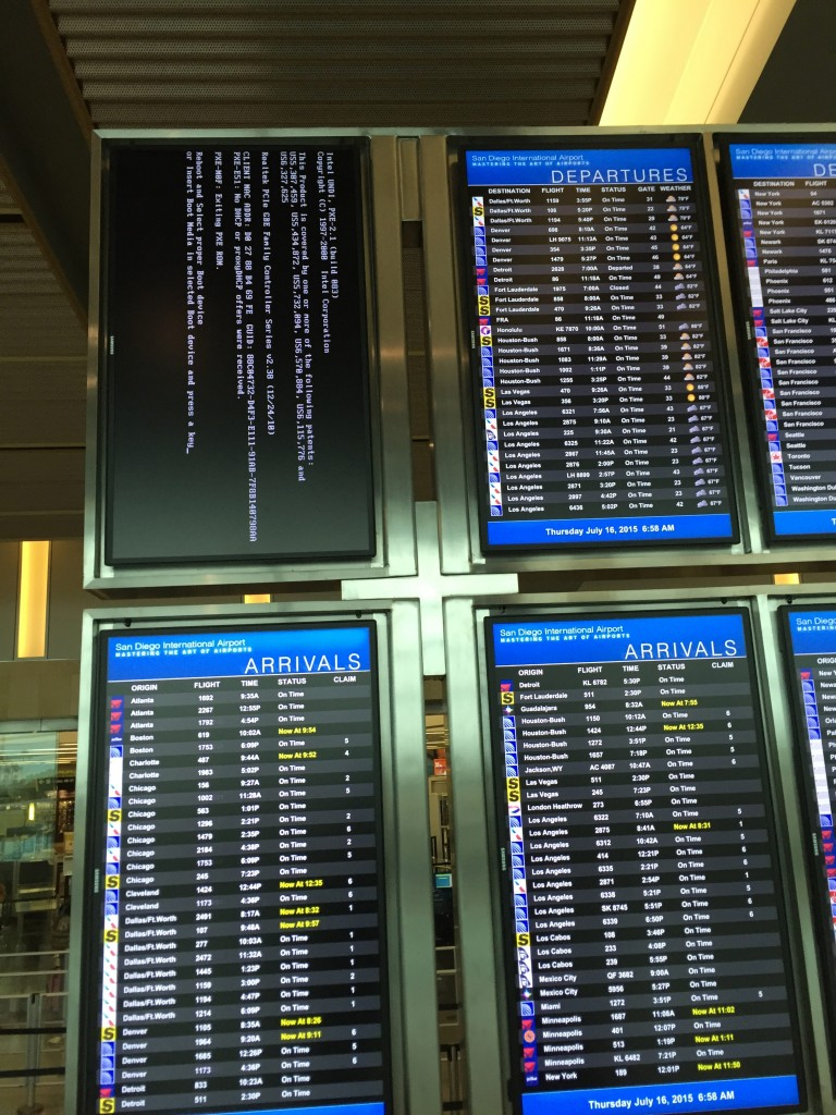 Crashed flight display consoles are a common occurrence in airports.  Imagine if every smart TV in the world were simultaneously infected with a virus, sourcing a massive DDoS attack against a victim like Dyn.