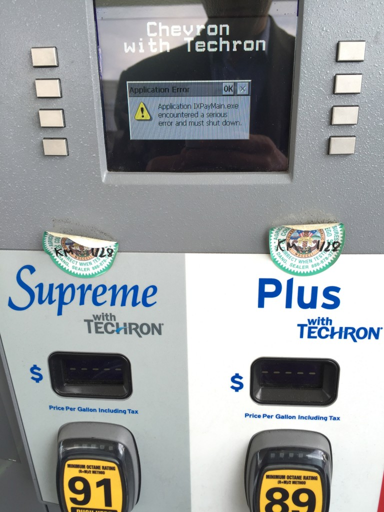 I found this gas pump had crashed, and was unable to pay at the pump.  Imagine if a virus knocked out every gas pump simultaneously in the nation, or if a chorus of infected gas pumps began to unwittingly mount DDoS attacks on critical infrastructure.