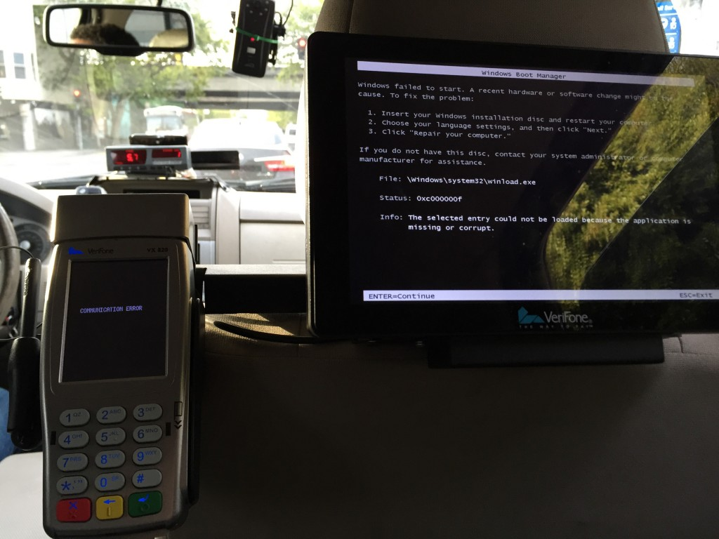 Even taxicabs run on Windows.  For the moment, the payments systems are separate from the engine control unit.  But history shows engineering mistakes happen, and one could imagine a vulnerability in an IoT payment system that causes massive disruption of transportation.