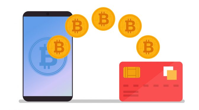 Bitcoin transaction to credit card. Currency exchange concept