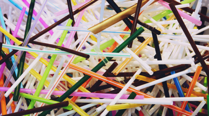 Collection of multi-colored drinking straws